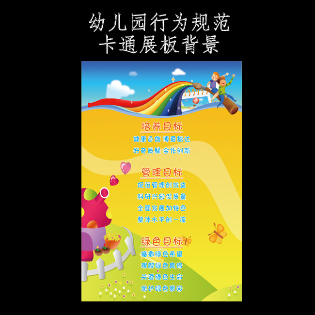 文件详细参数描述 格  式:psd 图片名称:幼儿园行为规范展板