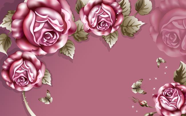 复古玫瑰欧式电视背景墙装饰画