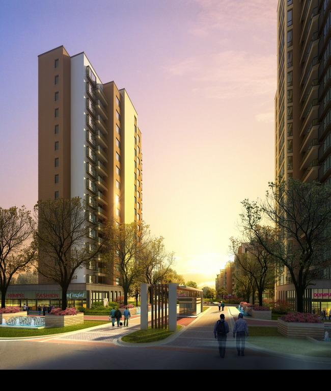 高层住宅中心景观效果psd   建筑设计   室内装饰|无框画|背景