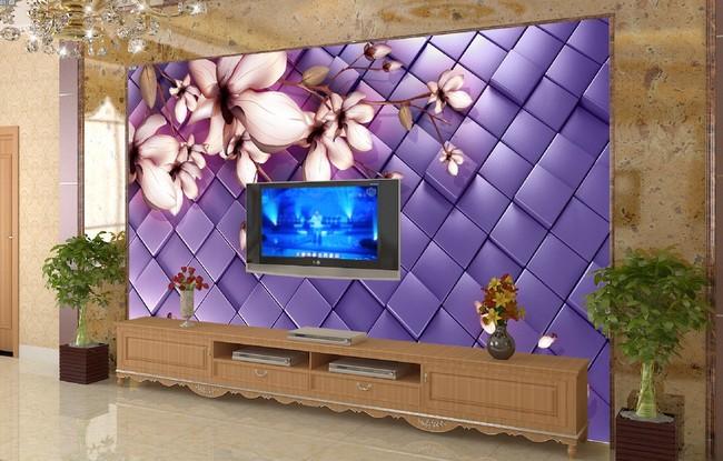 客厅3d玉兰花电视背景墙图片