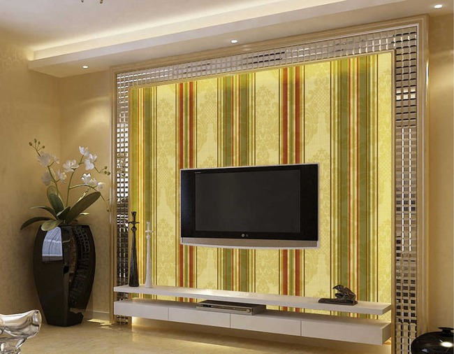 复古条纹马赛克镶边电视背景墙