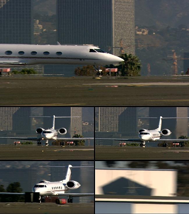 飞机降落后跑道滑行视频素材