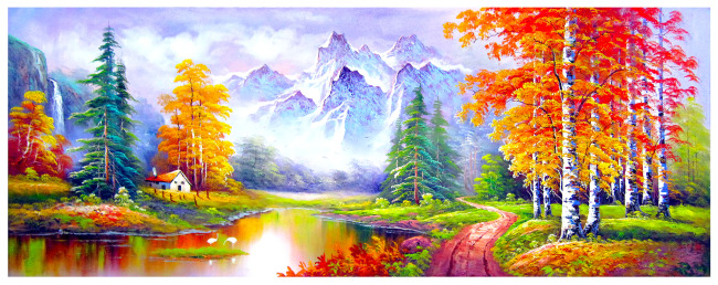 油画风景多彩季节-室内设计-其他