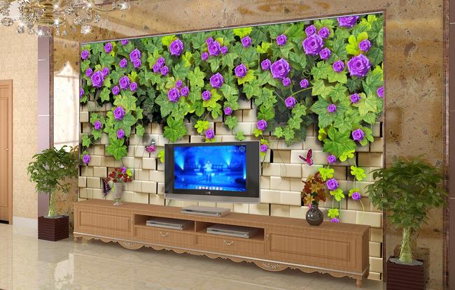 客厅3d墙壁蔓藤电视背景墙图片