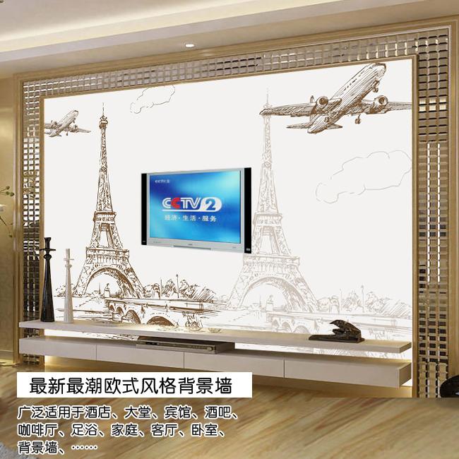 欧式古典建筑电视背景墙-欧式背景墙-室内装饰|无框