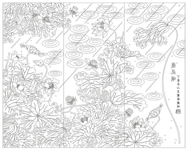 矢量图案荷花-雕刻图案-室内装饰|无框画|背景墙