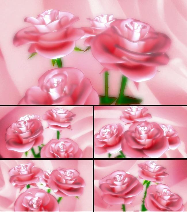 浪漫粉色玫瑰花动态背景视频图片