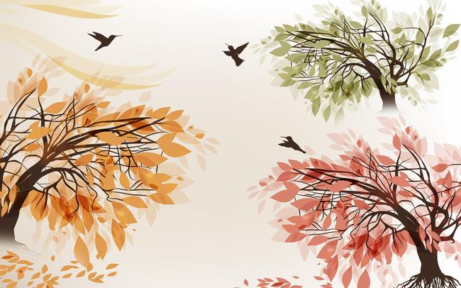 时尚树背景墙壁画