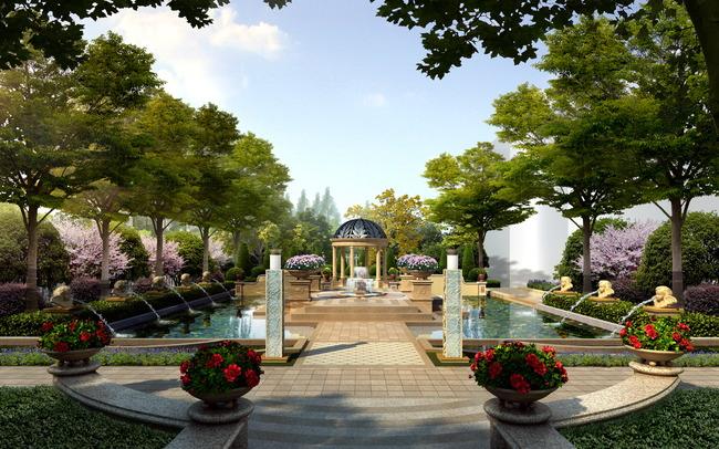 jf224欧式花园景观中心景观效果psd