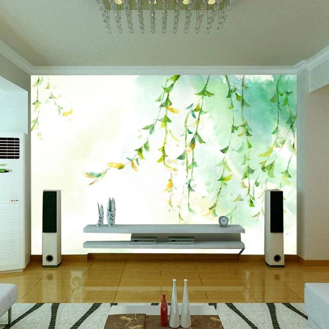 时尚手绘树枝客厅电视背景墙