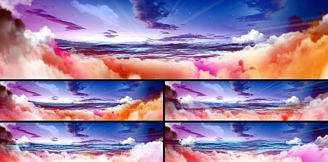 蓝天白云彩云大海光芒阳光视频素材vj背景