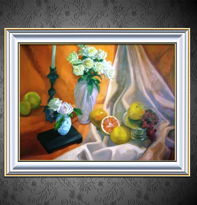 瓶花与水果装饰风格静物油画-风景油画-油画