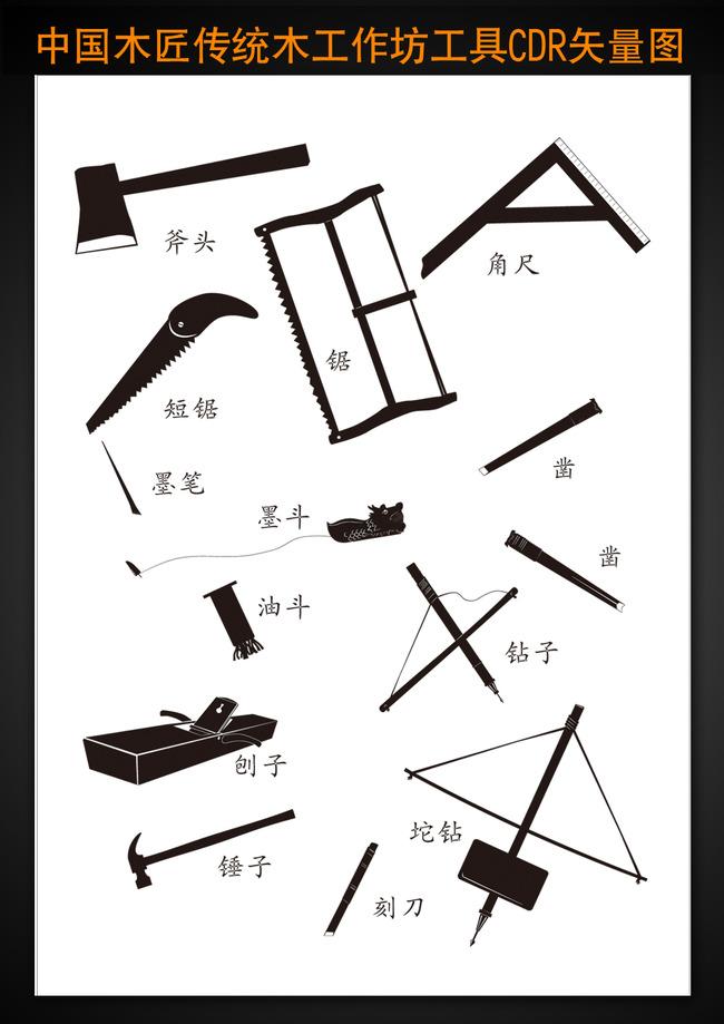 中国木工传统工具矢量图独家原创