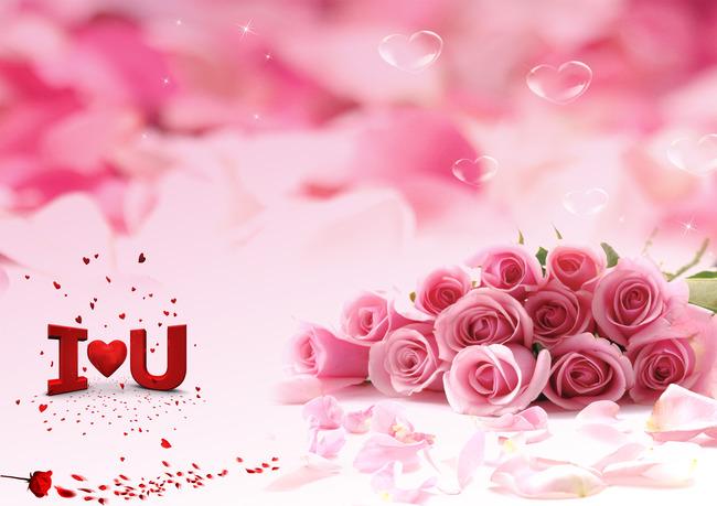 节促销海报粉色玫瑰花背景图片