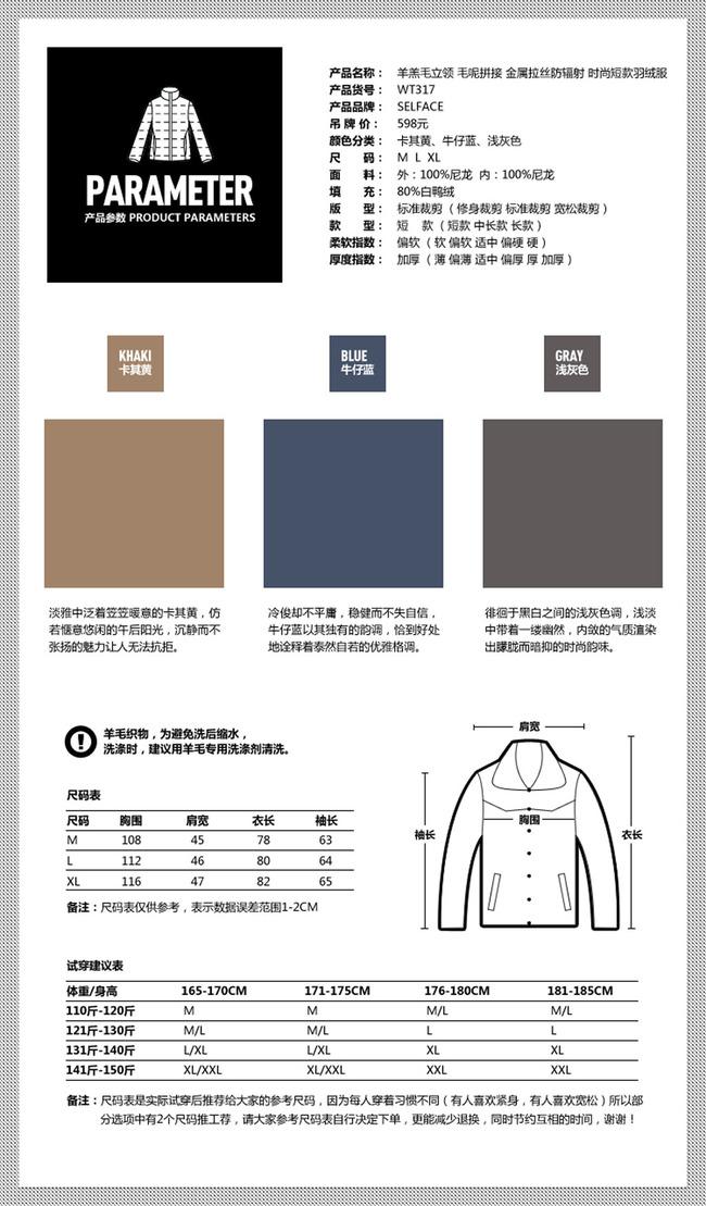 【psd】淘宝网店尺寸表宝贝描述模板psd源文件