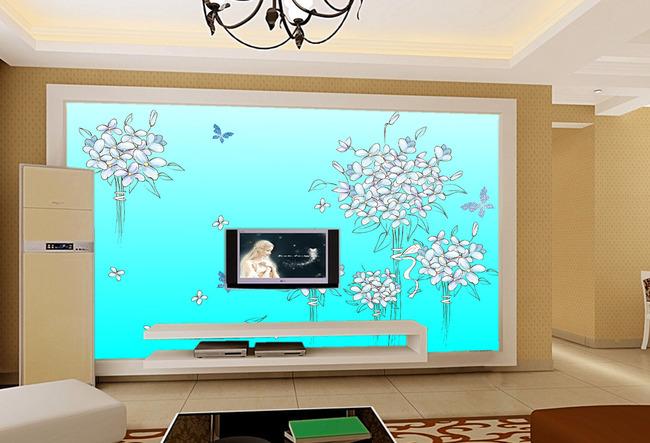 【ai】手绘玫瑰花电视背景墙