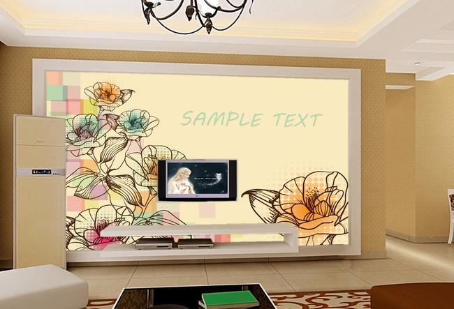 手绘花朵电视背景墙-手绘电视背景墙-电视背景墙