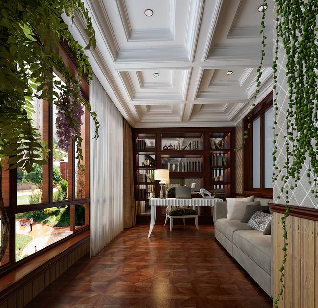 欧式书房-室内设计-室内装饰|无框画|背景墙
