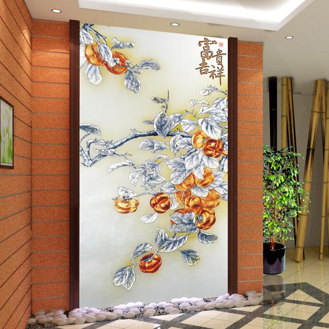 玄关背景墙壁画墙纸
