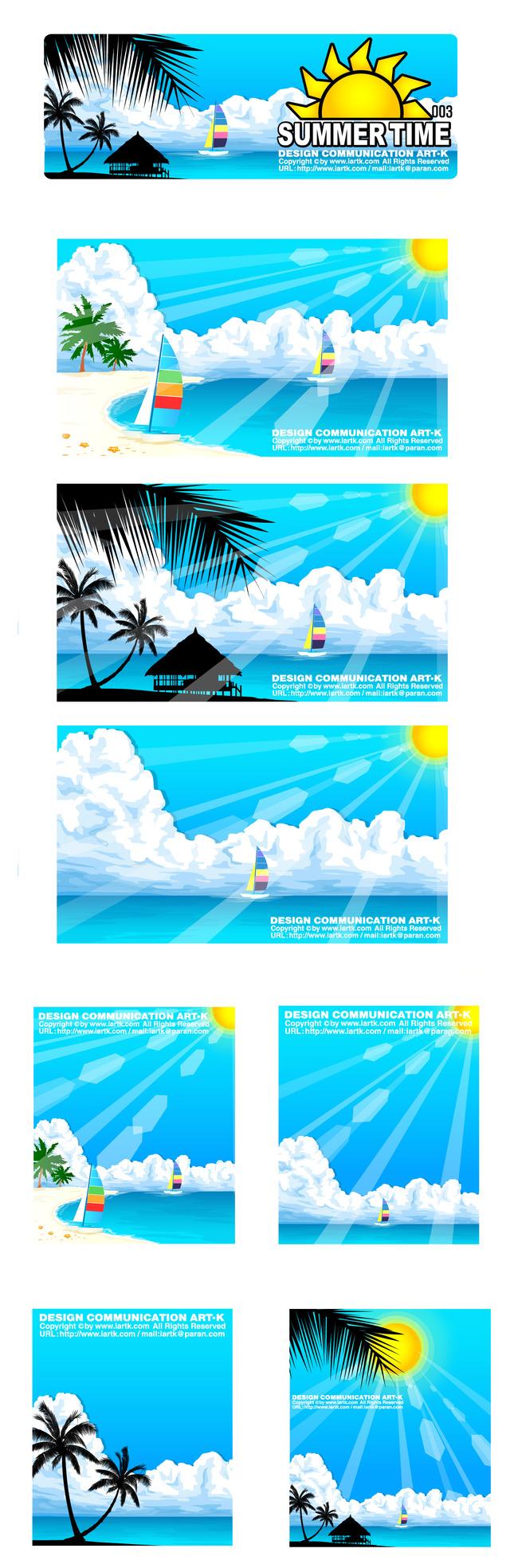 小清新蓝色海边风景卡通矢量图-卡通形象-插画|元素