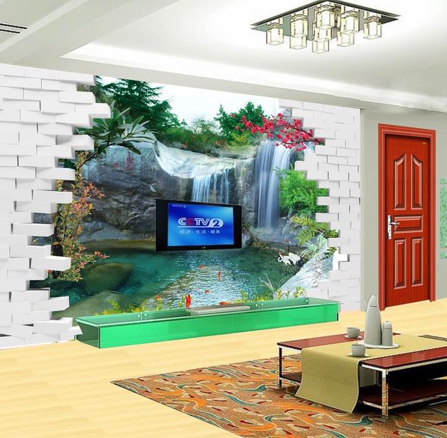 高山流水3d立体墙砖客厅电视背景墙装饰画