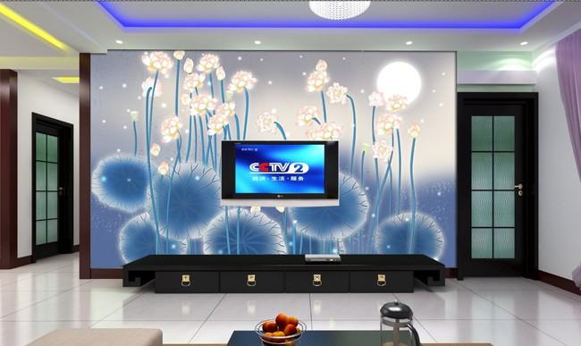 电视背景墙壁纸壁画荷花