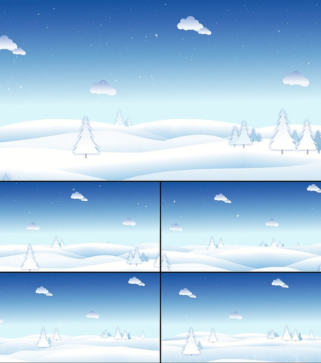 态素材卡通圣诞下雪场景