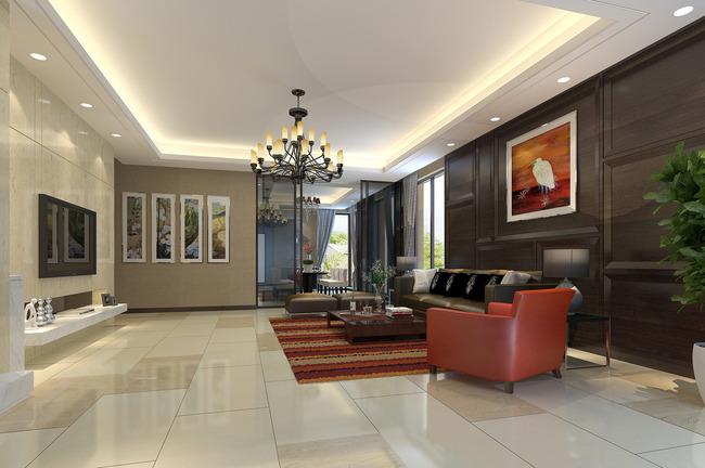 现在中式风格别墅客厅效果图max模型-室内3d模型-整套图片