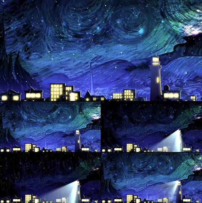 绘画手绘涂鸦风格的魔幻村落夜景视频背景