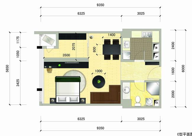 小户型CAD平面效果图