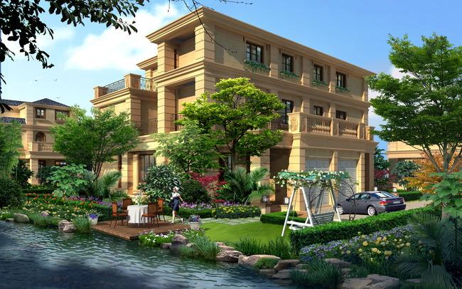 jf三层别墅室外景观设计效果图