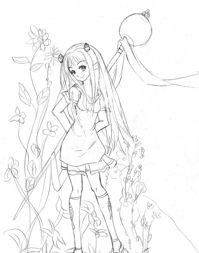 黑白手绘魔法拐杖美少女插画