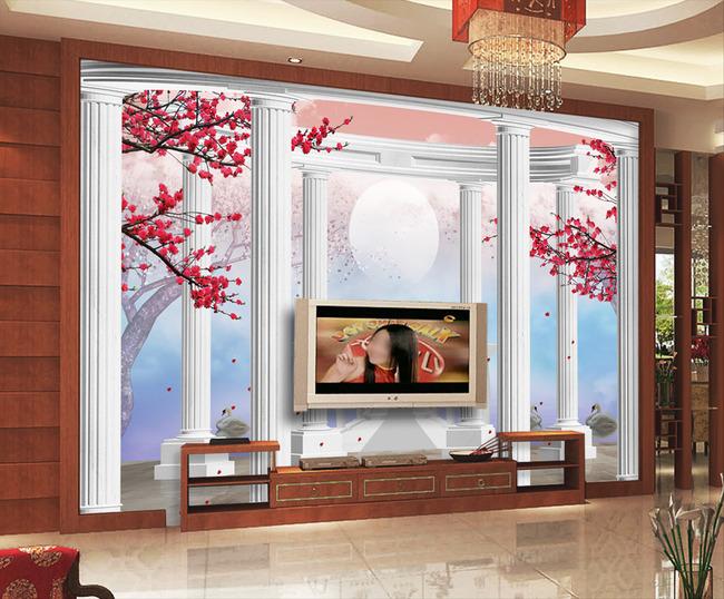 欧式风景3d罗马柱红梅梦幻电视背景墙