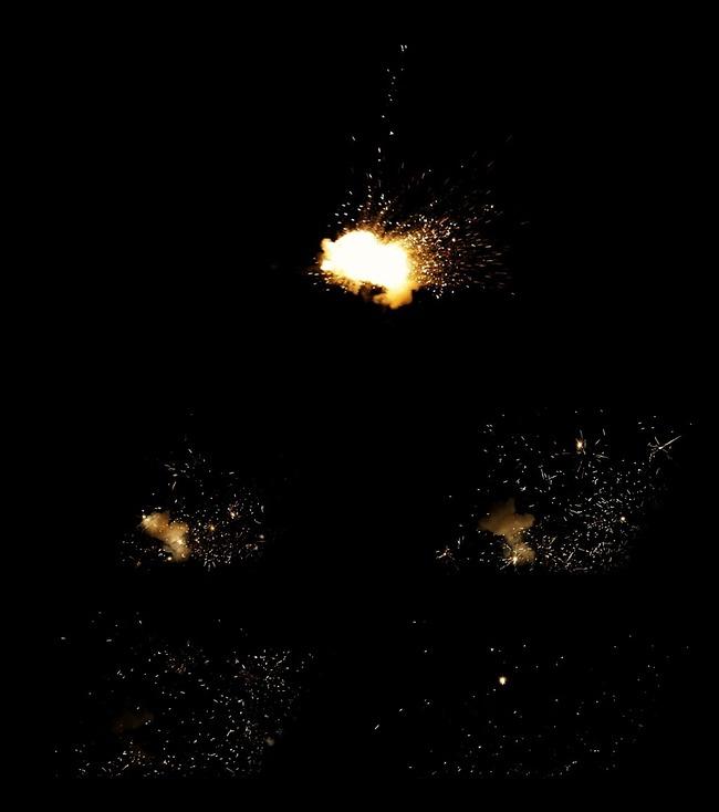 爆炸火光烟雾带透明通道高清视频制作素材图片