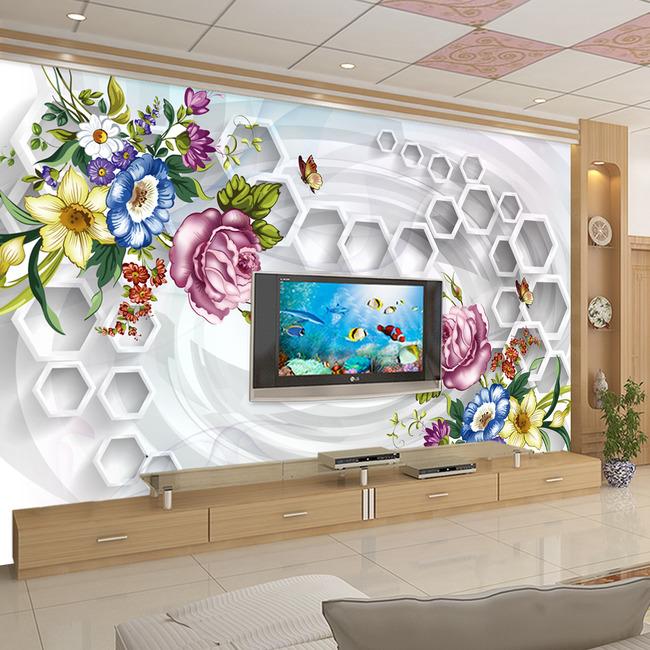 3d立体欧式玫瑰电视背景墙