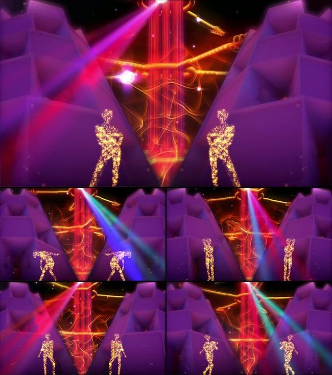 粒子人物动感舞台演出背景-led视频素材-动态视频素材