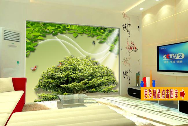 大树风景画电视背景墙装饰画-背景墙-室内装饰|无框画