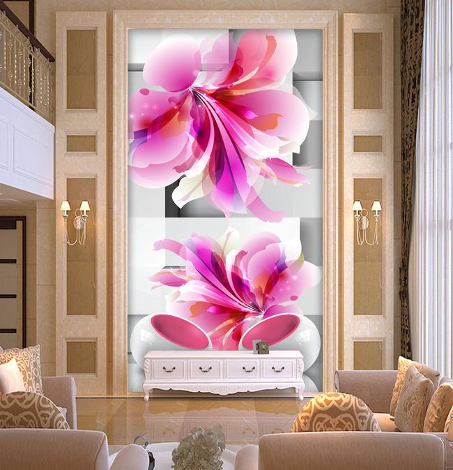 3d现代手绘花朵玄关过道背景墙-玄关-室内装饰 无框