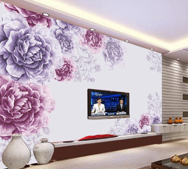 欧式花纹壁画壁纸客厅电视背景墙