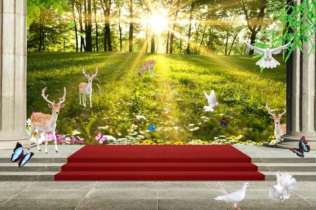【psd】3d立体森林风景电视背景墙壁画