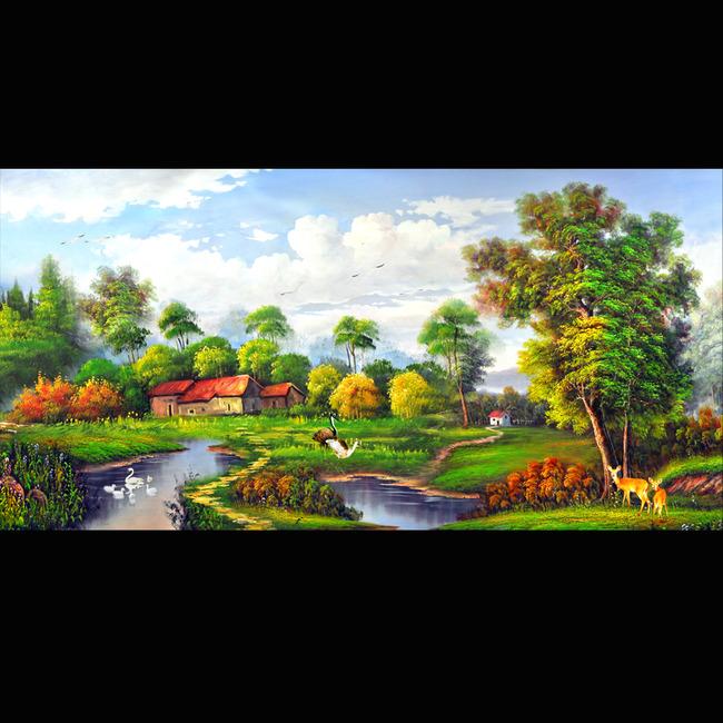 油画风景漂亮的山水油画图片