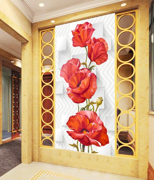 3d手绘花朵中式玄关过道背景墙