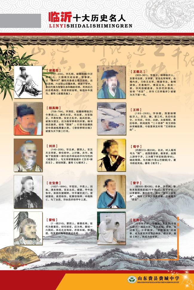 学校展板展板模板临沂十大历史名人