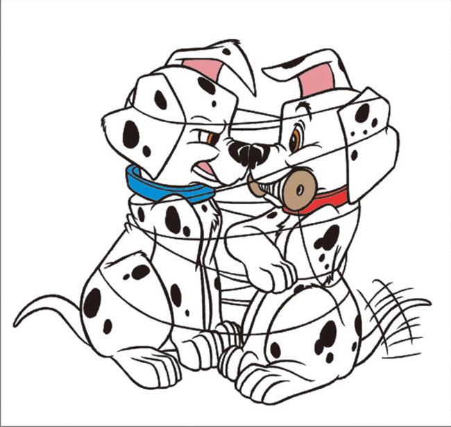 斑点狗模板矢量图下载-动物插画-插画|元素|卡通