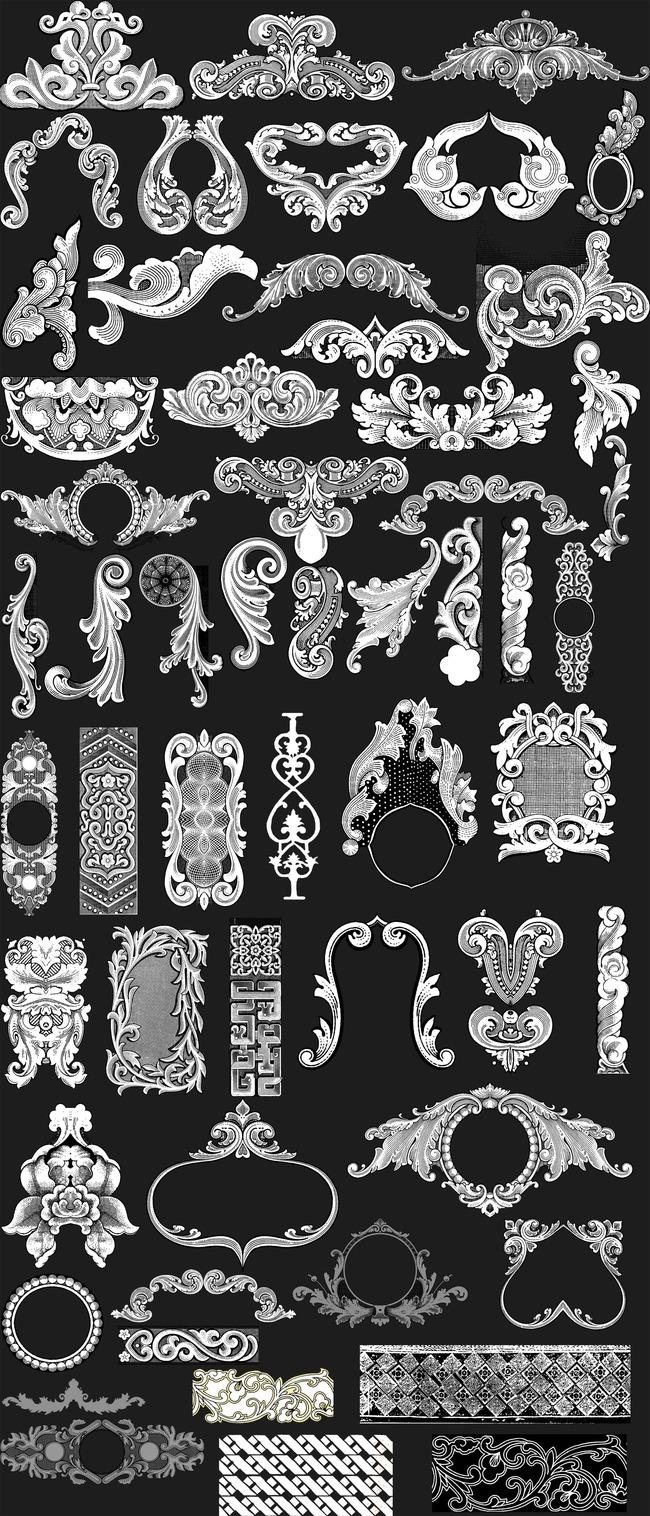 花纹花线浮雕花纹装饰相框花纹