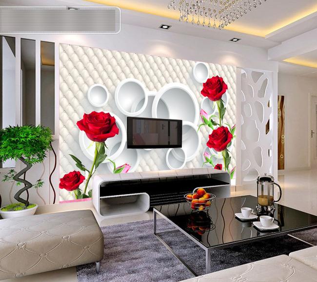 3d玫瑰欧式电视背景墙