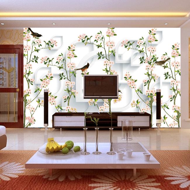 3d时尚手绘客厅背景墙