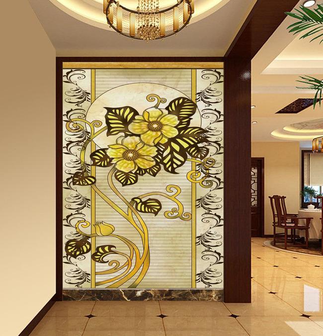 欧式时尚花纹牡丹颂门厅画图片