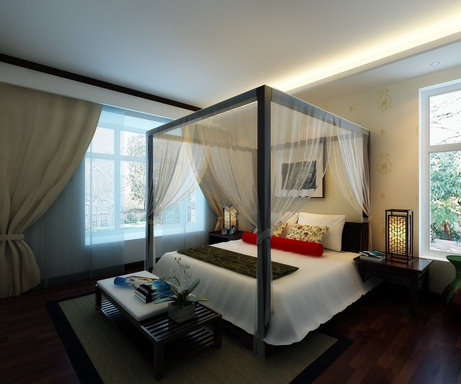 现代中式卧室效果图3d模型
