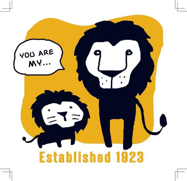 两只卡通狮子矢量图亲子装印花